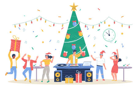 Happy business people celebrating Merry Christmas and Happy New Year, vector flat illustration