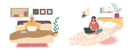Young and senior women sitting on their beds with laptop computers, flat vector illustration set 向量圖像