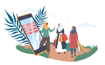 Happy muslim women shopping online, flat vector illustration