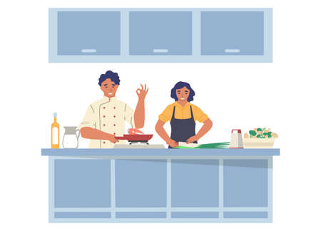 Cooking TV show. Man and woman preparing dish in kitchen, flat vector illustration