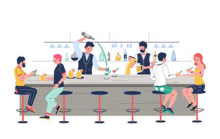 Bartender characters pouring beer, making alcohol cocktail for pub, bar, club customers, vector flat illustration