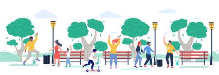 End of coronavirus quarantine. Happy people walking in the park, vector flat illustration