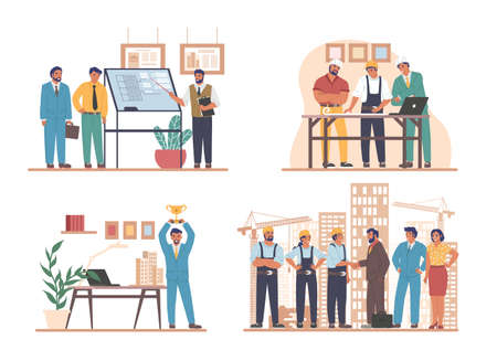 Construction engineers, architects, builder workers, flat vector illustration set