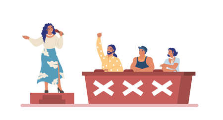 TV talent show. Young woman singing for celebrity judges, coaches, flat vector illustration