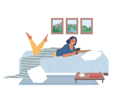 Young woman lying on the bed with mobile phone, flat vector illustration
