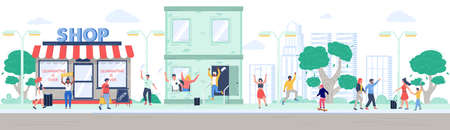 Shop reopening after quarantine, happy people leaving house and walking in the park, vector flat illustration