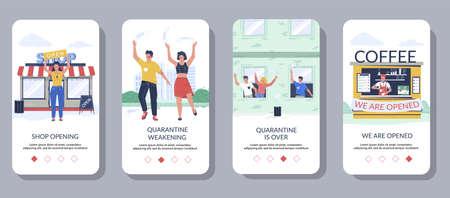 End of coronavirus quarantine mobile app onboarding screens, vector website banner template