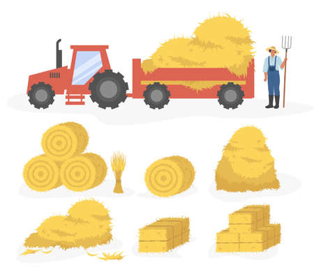 Tractor with hay cartoon illustration. Vector set of hay icons set isolated on white background. Straw, haystack and hayloft