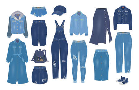 Women denim clothes set, flat vector isolated illustration. Blue jean outfit, casual clothing, ripped jeans models.