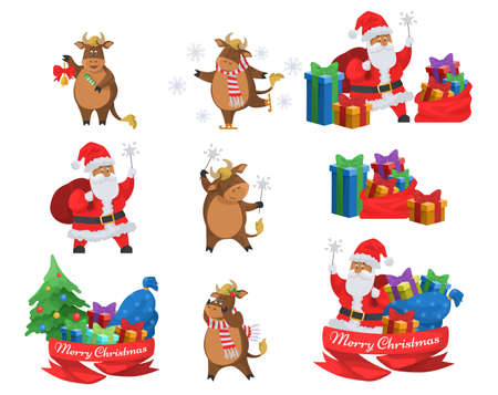 Happy Santa Claus and cute ox, chinese new year 2021 sign. Merry Christmas symbols, flat vector isolated illustration.