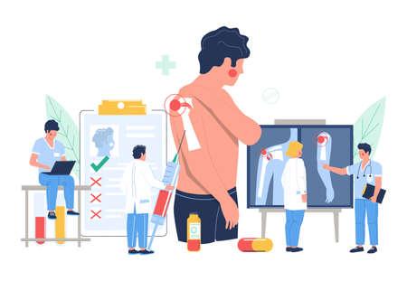 Shoulder arthritis, osteoarthritis. Patient suffering from joint pain visiting doctor office, flat vector illustration. Stock fotó - 155633144