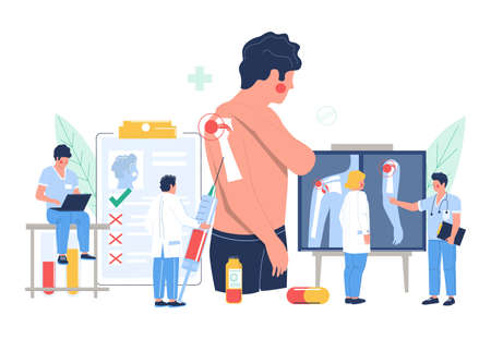 Shoulder arthritis, osteoarthritis. Patient suffering from joint pain visiting doctor office, flat vector illustration.