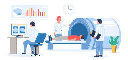 MRI exam procedure in clinic. Doctors, medical professionals doing head mri scan of patient, flat vector illustration.
