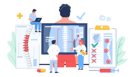 Osteopathy session and treatment. Doctors examining scan of patient spine, flat vector illustration.