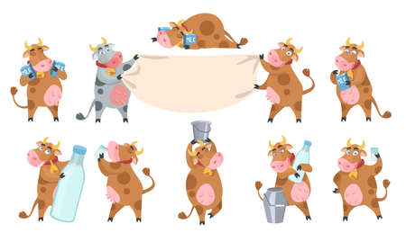 Cute cow cartoon character set, flat vector isolated illustration. Dairy industry, agriculture.