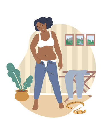 Obesity and weight problems. Unhappy fat woman trying to put on tight pants, flat vector illustration. Vettoriali