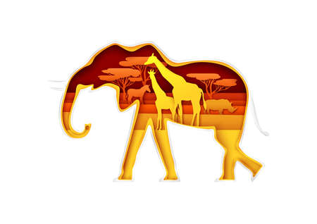 Elephant silhouette with African nature, giraffes family, rhino, zebra inside, vector illustration in paper art style.