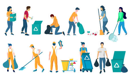 Cleaning company staff, flat vector isolated illustration. Floor and window cleaning, dusting, garbage collection.