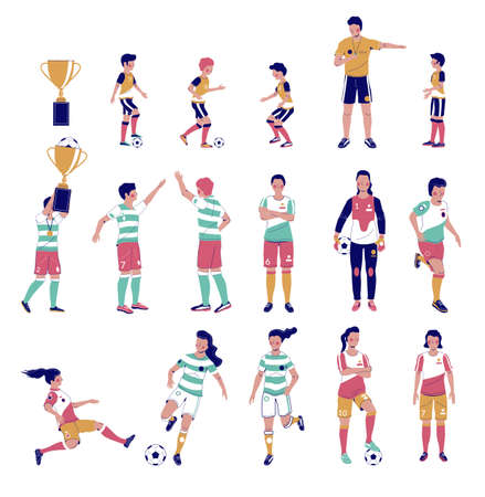 Soccer player set, flat vector isolated illustration. Kids, adults playing football, kicking the ball, holding gold cup. Ilustração
