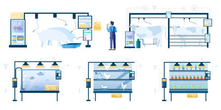 Smart farming technology set, flat vector isolated illustration. Internet of things, wireless remote control system. Illustration