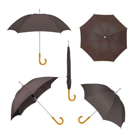 Black umbrella mockup set, vector illustration isolated on white background. Realistic folded and opened parasols.