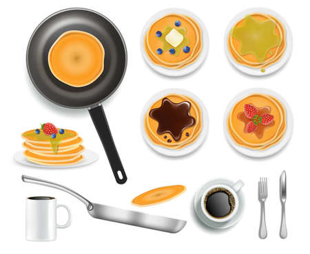 Fluffy pancakes with honey, chocolate, blueberry and strawberry fruits, vector isolated illustration. American breakfast Vettoriali