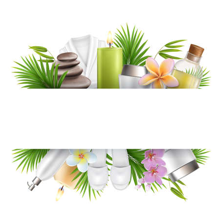 Beauty salon and spa poster, frame template with accessories for skin care procedures. Vector illustration. 向量圖像