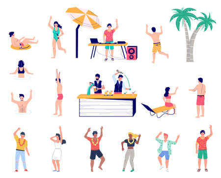 Beach party cartoon character set flat vector isolated illustration. Summer tropical vacation.