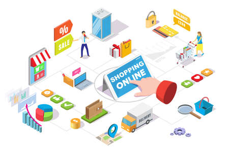 Online shopping isometric flowchart, vector illustration. Ecommerce, online store sales and deals, internet payment. 向量圖像