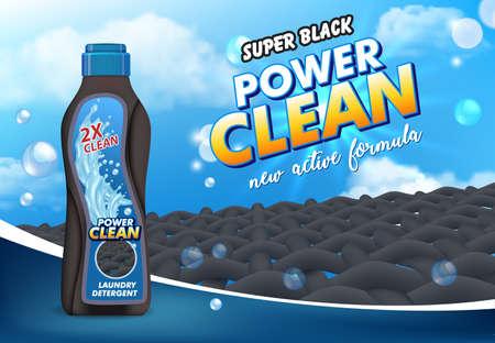 Liquid laundry detergent advertising poster template, vector 3d illustration. Vetores