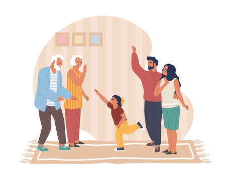 Happy father, mother and daughter visiting their senior parents, flat vector illustration. Homecoming. 矢量图像