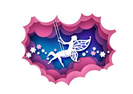 Paper cut cute magic fairy swinging on swing. Vector illustration in paper art style. 矢量图像