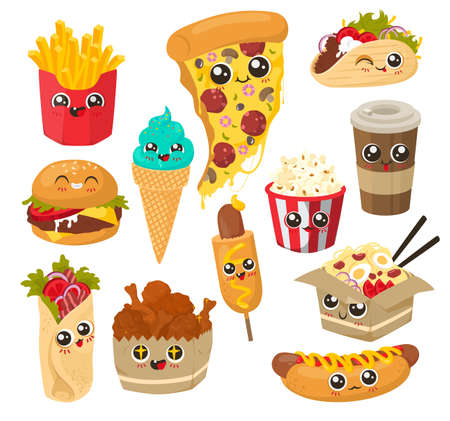 Cute and funny fast food character set, flat vector illustration. Happy snack food with human faces.