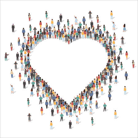 Large group of people forming human heart shape frame, flat vector illustration. Love, appreciation, social community.