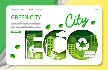 Green city vector website landing page template. Paper cut craft eco friendly city with green energy, bicycle transport. Ilustracja