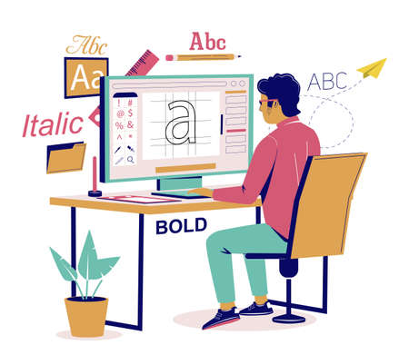 Graphic designer creating his own font, vector flat isometric illustration Ilustracja
