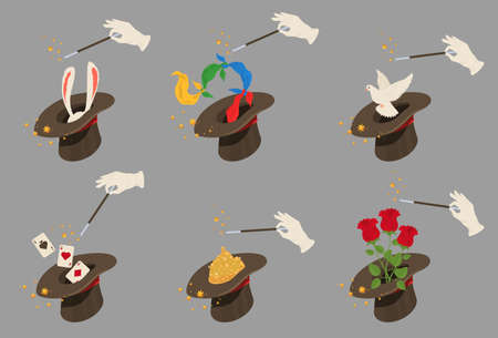 Magician hat set, flat vector isolated illustration. Illusionist top hat for performing tricks.