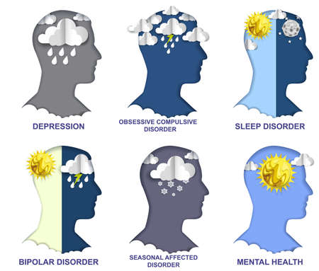 Mental disorder. Vector paper cut craft style head silhouette with clouds, sun, rain, lightning. Psychology, psychiatry.
