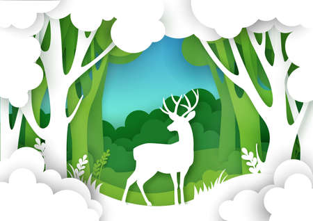 Paper cut forest landscape and beautiful deer silhouette. Vector illustration in paper art style. Save nature. Ilustracja