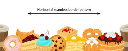 Vector seamless border pattern with sweet desserts. Yummy pastry and bakery goods.