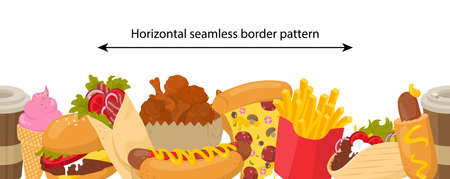 Vector seamless border pattern with fast food items. Ilustracja