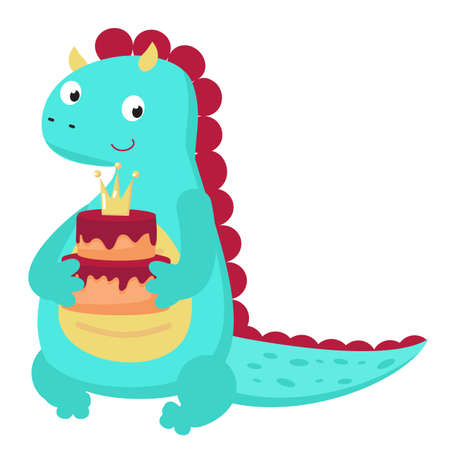Cute dinosaur holds birthday cake. Vector illustration in cartoon style. Baby dino character. Isolated icon