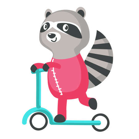 Cutr raccoon on a kick scooter icon isolated on white background. Vector illustration Çizim