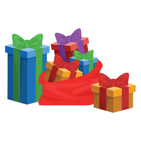 Gift box for christmas and birthday icon isolated on white background. Vector illustration. Pile of present boxes with ribbons Ilustracja