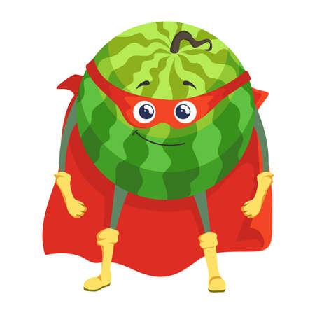 Watermelon superhero in cape amd mask icon isolated on white background. Vector illustration. Super hero fruit cartoon character