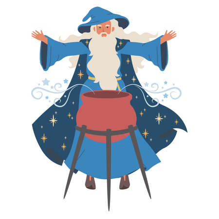 Wizard boils magic potion, icon isolated on white background. Vector illustration. Old magician with beard
