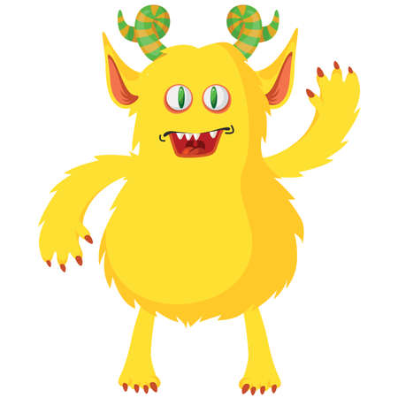 Cartoon furry monster icon isolated on white background. Vector illustration. Cute monster character