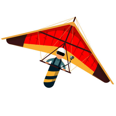 Man hang glider icon isolated on white background. Vector illustration. Hang gliding and sky extreme sport