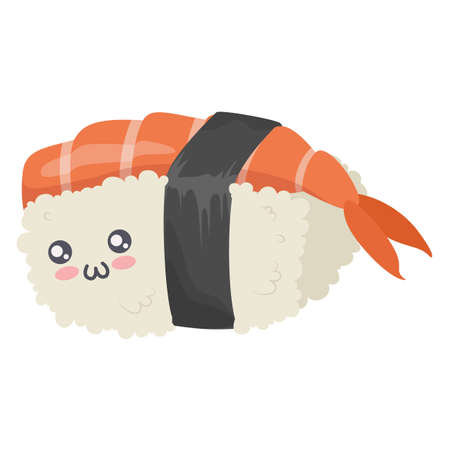 Cute sushi character icon isolated on white background. Vector illustration. Japanese food cartoon design isolated on white background