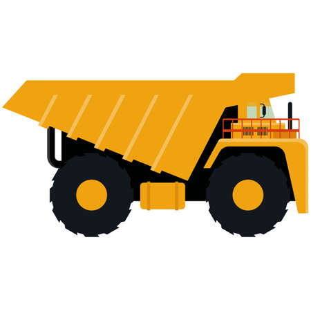Dump truck icon isolated on white background. Vector illustration. Heavy industrial tipper truck isolated onwhite background